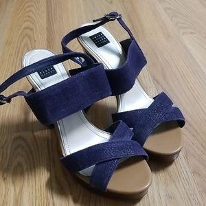 White House Black Market denim high heel shoes